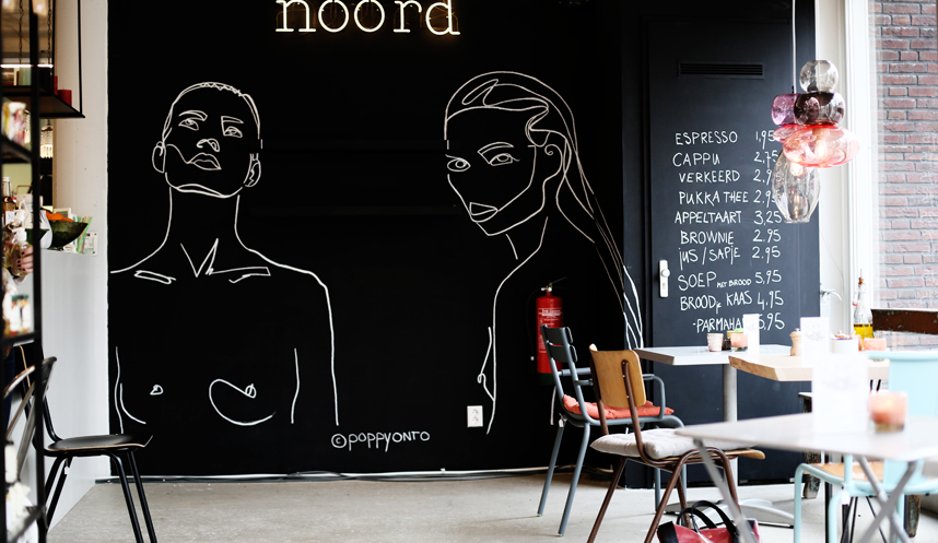 drawing mural wall illustration at Stadspaviljoen Noord made by Poppyonto