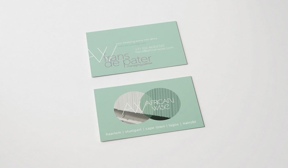 business cards logo design and graphic design branding for African Wise made by Poppyonto