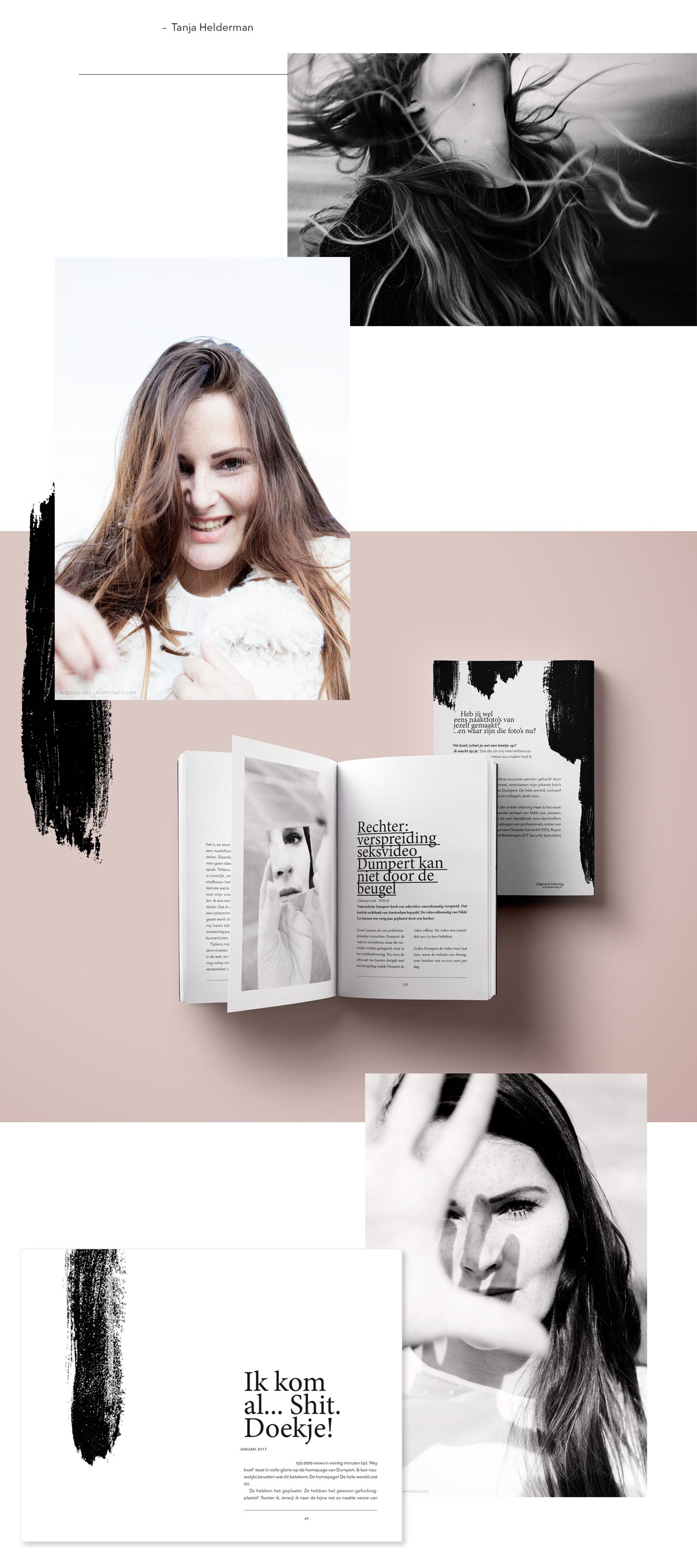 Ontwerp en vormgeving boek Niet Van Iedereen de hel die online shaming heet portret fotografie Nikki Lee Janssen Graphic Design Book Photography Portrait by Poppyonto
