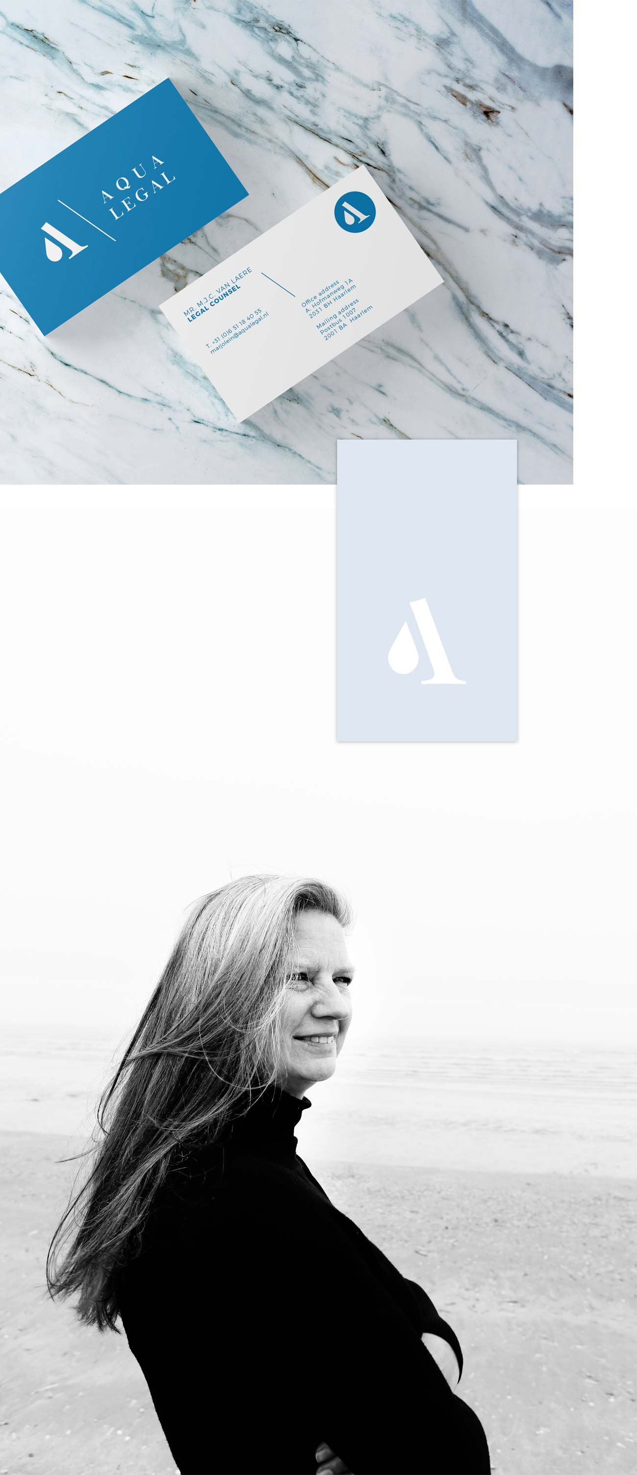 Branding Identity logo design business cards letterhead and portrait photography for Aqua Legal Marjolein van Laere by Poppyonto