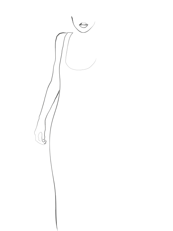 line drawing illustration of a woman made by Poppyonto