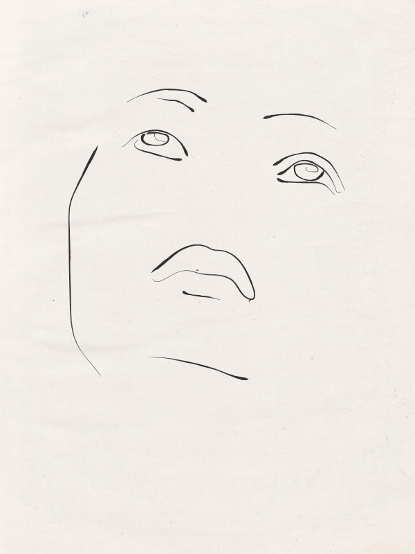 sketch drawing illustration of a woman face made by Poppyonto