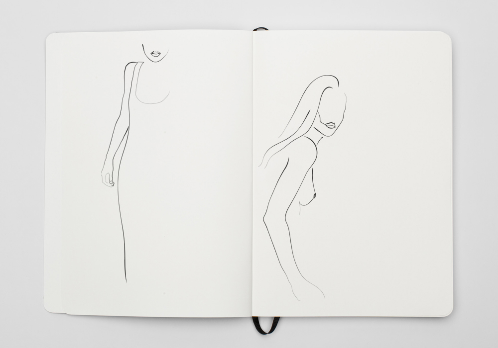 sketchbook with illustration of a woman made by Poppyonto