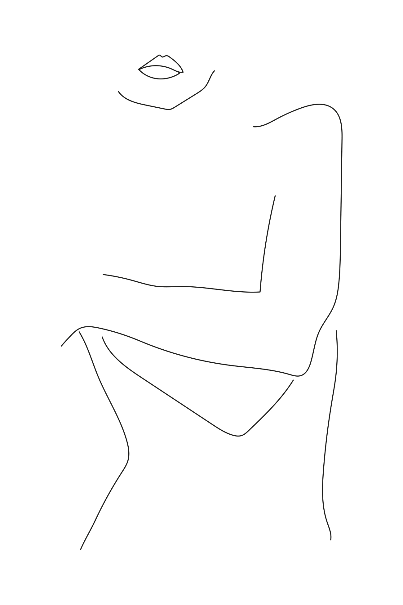 fine line and clean minimal illustration of a female woman made by Poppyonto