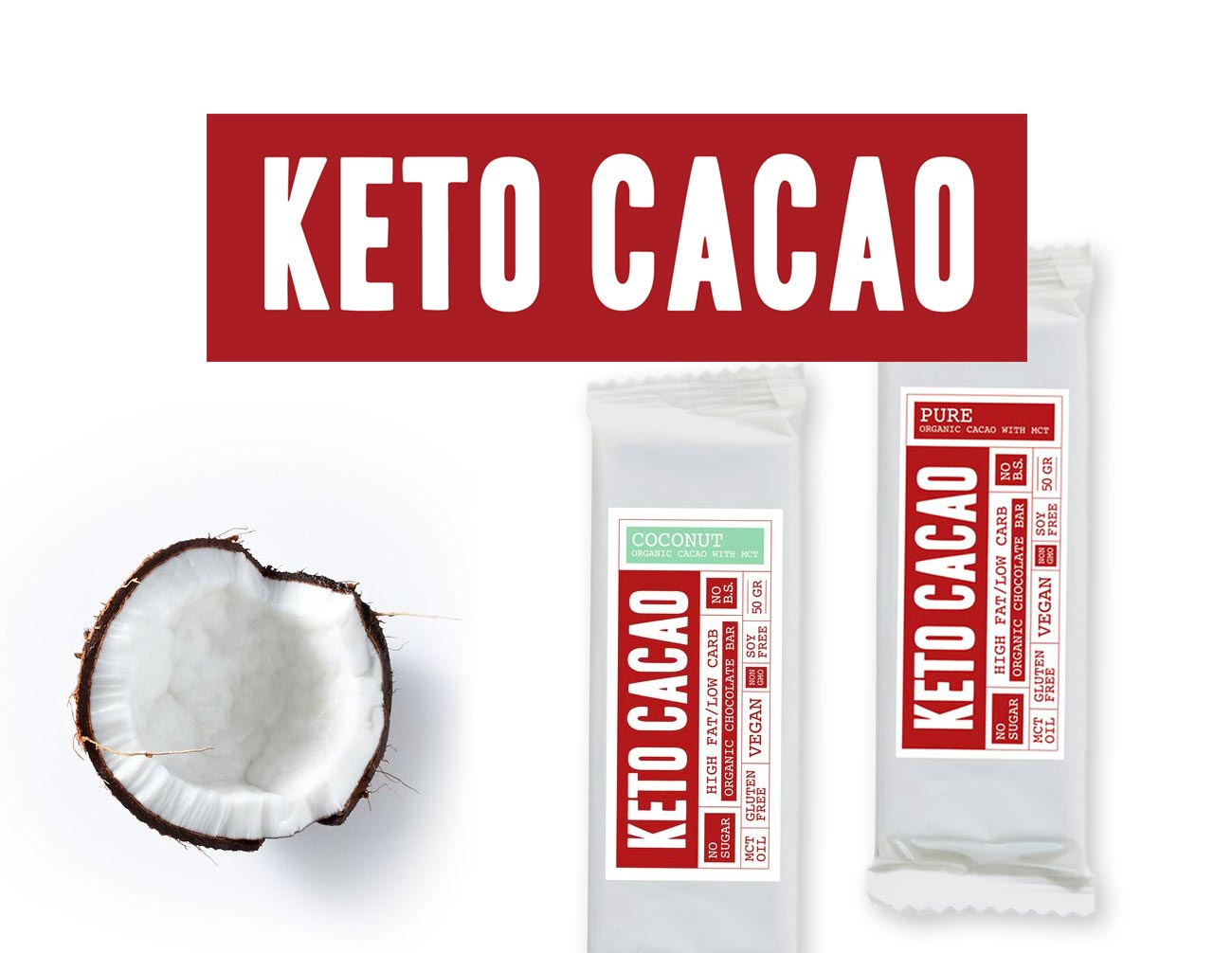 branding and design logo packaging social media artwork chocolate bar cacao coconut pure raw vegan KETO CACAO by Poppyonto