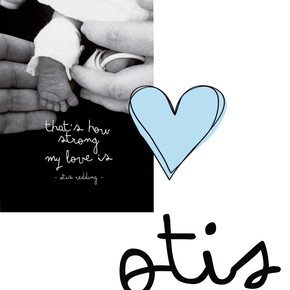birth announcement of Otis on a A3 poster with illustrations photos and words made by Poppyonto