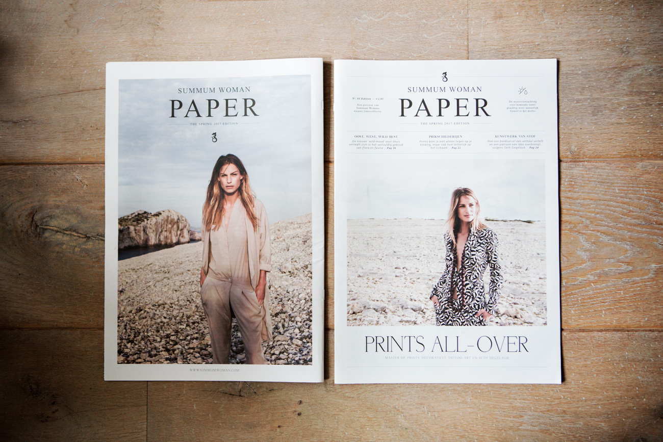 design art direction graphic design and layout for the spring and summer newspapers of summum woman made by poppyonto